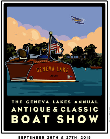 1A Lake Geneva Antique & Classic Boat Show Offset Print 2015