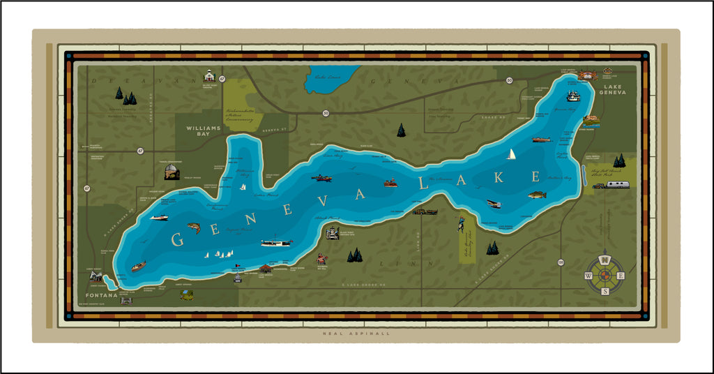 0 A Illustrated Map of Geneva Lake