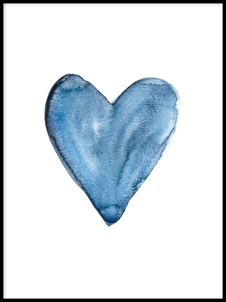 Poster: Watercolour heart, blue, by EMELIEmaria