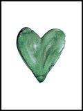 Poster: Watercolour heart, green, by EMELIEmaria
