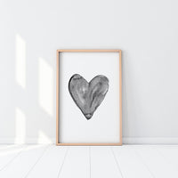 Poster: Watercolour heart, black, by EMELIEmaria