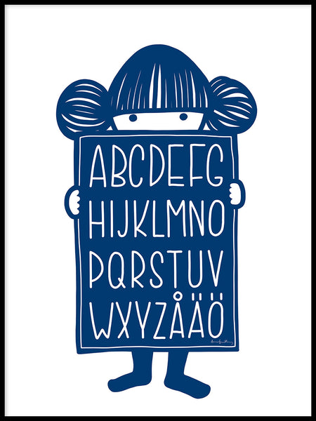 Poster: Alphabet Buddy Blue, by Anna Grundberg