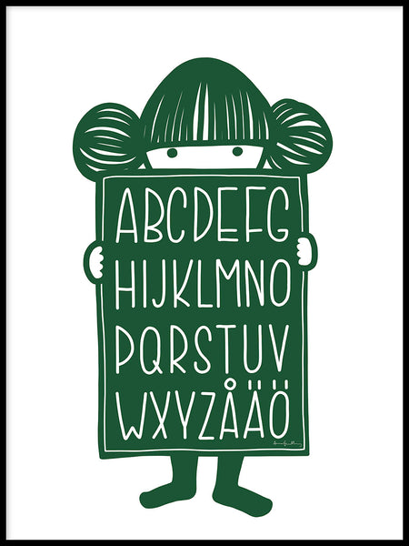 Poster: Alphabet Buddy Green, by Anna Grundberg