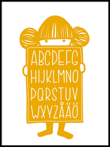 Poster: Alphabet Buddy yellow, by Anna Grundberg