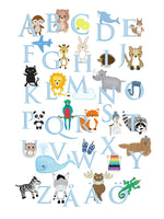 Poster: Alphabet print in pastel, by Lindblom of Sweden