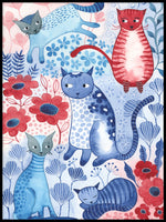 Poster: Floral Cats, by Discontinued products