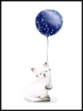 Poster: Cat with balloon, by Cora konst & illustration
