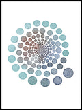Poster: Circles blue, by Lindblom of Sweden