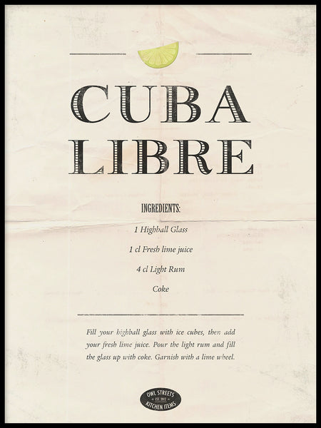 Poster: Cuba Libre, by Owl Streets