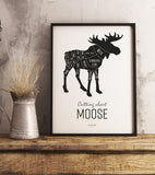 Poster: Cutting chart, Moose, by Art & Design by Sara