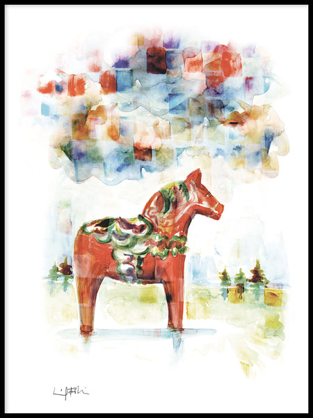Poster: Dala horse, by Ingrid Fröhlich