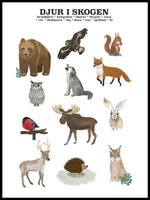 Poster: Animals in the forest, by Lindblom of Sweden