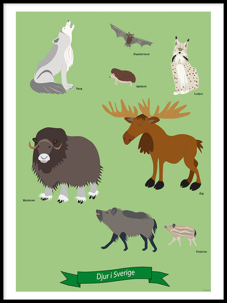 Poster: Animals in Sweden, by mimono