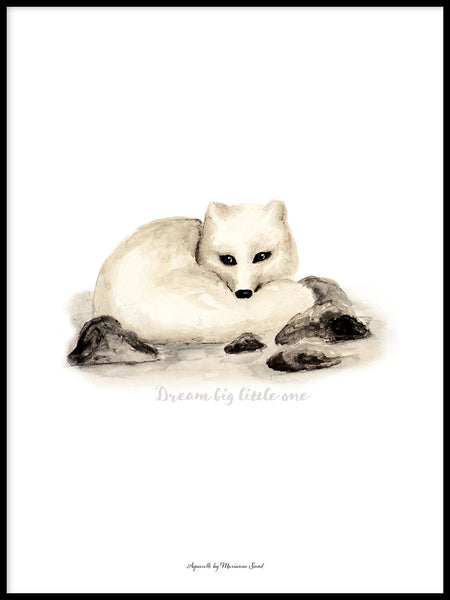 Poster: Dream Big little one (Arctic fox), by Ekkoform illustrations