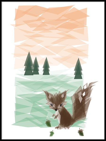 Poster: The squirrel in the woods, by ANNABOYE