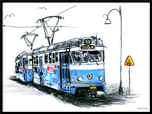 Poster: Tram no 11, by Lisbeth Svärling