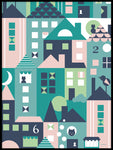 Poster: A small town, pink and blue, by ANNABOYE