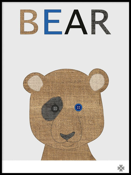 Poster: Fabric Bear, by Paperago
