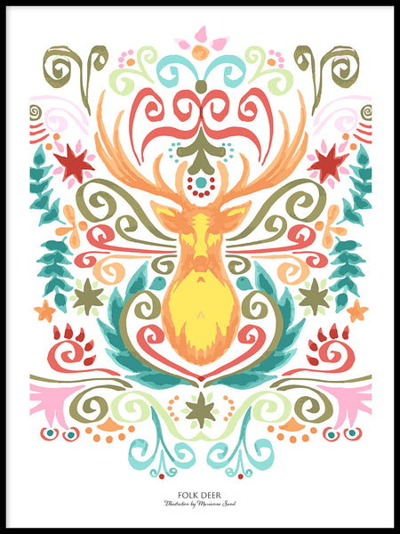Poster: Folk Deer, by Ekkoform illustrations