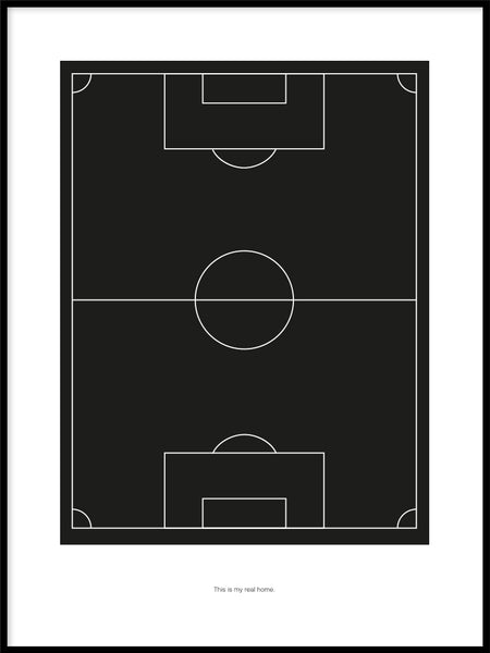 Poster: Football field home black, by Tim Hansson