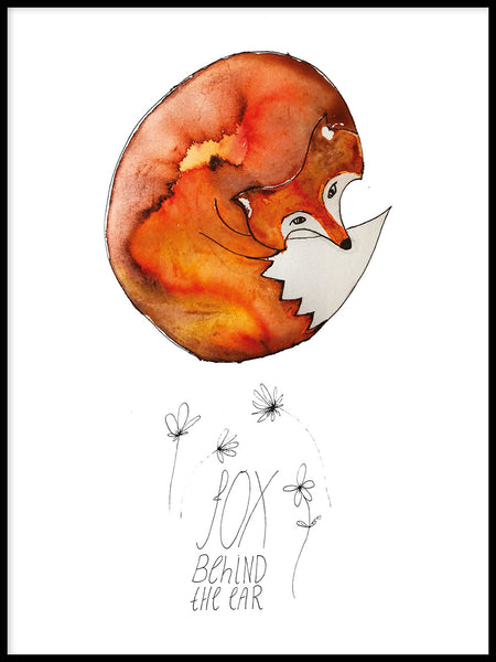 Poster: Fox behind the ear, by Jessica Ahrling