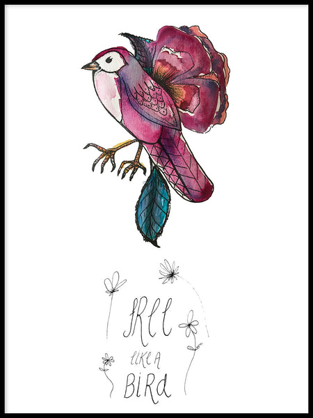 Poster: Free like a bird, by Jessica Ahrling
