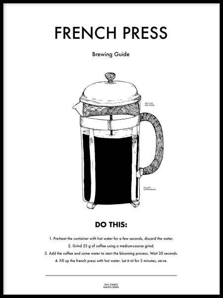 Poster: French press, by Owl Streets