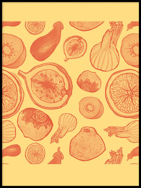 Poster: Fruits and Yellow, by Fia-Maria