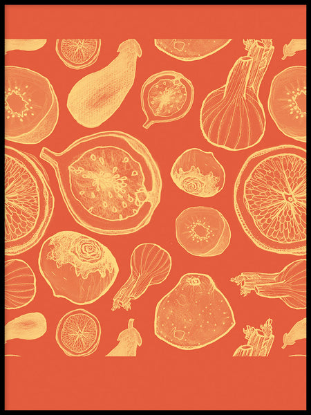 Poster: Fruits and Red, by Fia-Maria