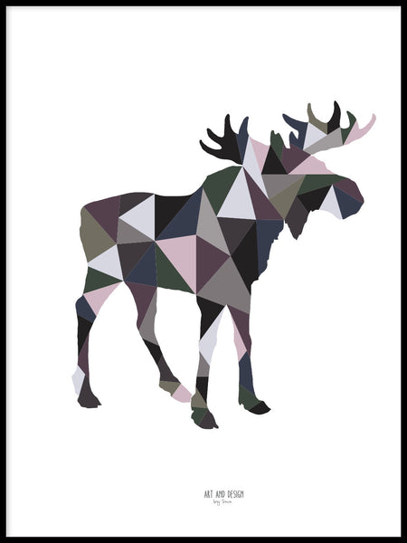 Poster: Geometric Moose, by Art & Design by Sara