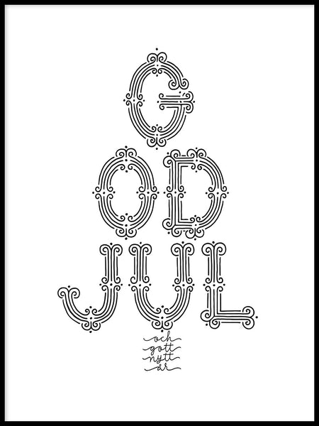 Poster: God Jul, black and white, av Fia Lotta Jansson Design