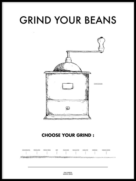 Poster: Grind your beans, by Owl Streets