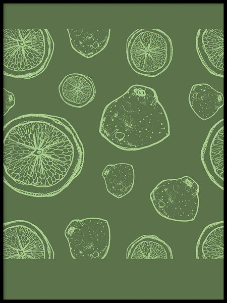 Poster: Green lemons, by Fia-Maria