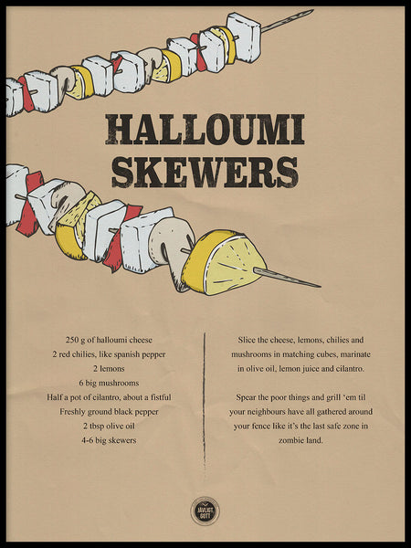Poster: Halloumi Skewers, by Owl Streets