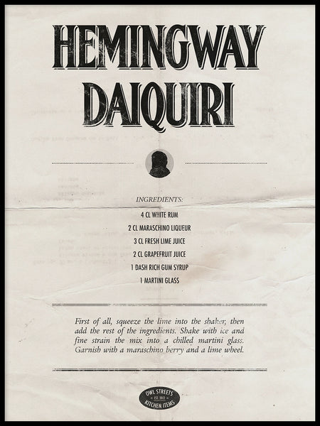 Poster: Hemingway Daiquiri, by Owl Streets