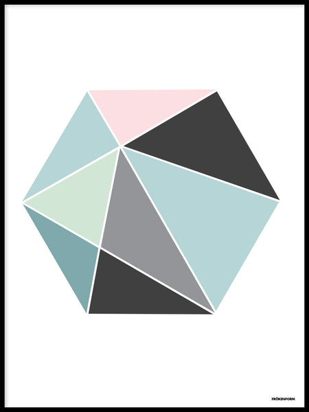 Poster: Hexagon in colour, by Fröken Form