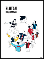 Poster: History of Zlatan, with name and colours, by Tim Hansson
