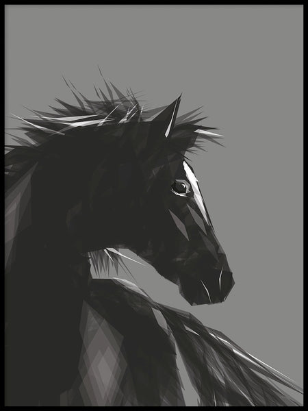 Poster: Horse, grey, by ANNABOYE