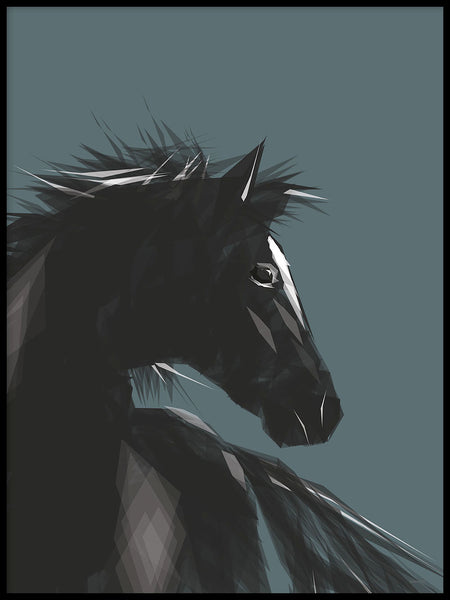 Poster: Horse, petrol, by ANNABOYE