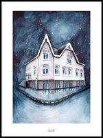 Poster: House portrait of an old Norwegian house, by Ekkoform illustrations