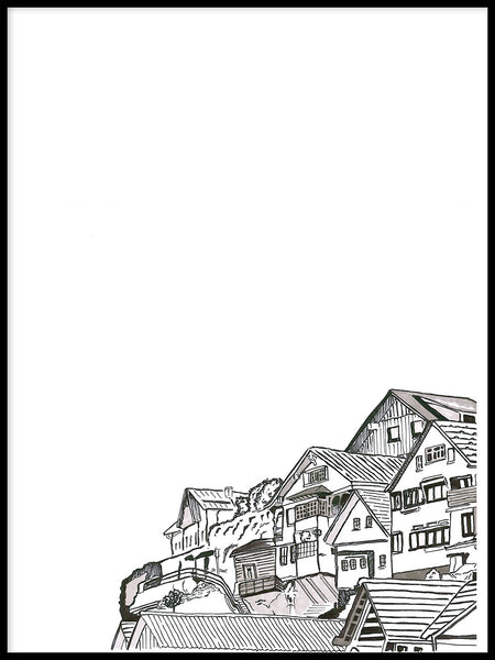 Poster: Houses on a mountainside, by Omer Rosenbaum