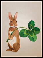 Poster: Rabbit with clover, by Lisa Hult Sandgren