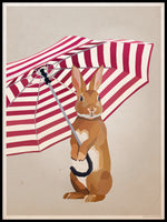 Poster: Rabbit with umbrella, by Lisa Hult Sandgren