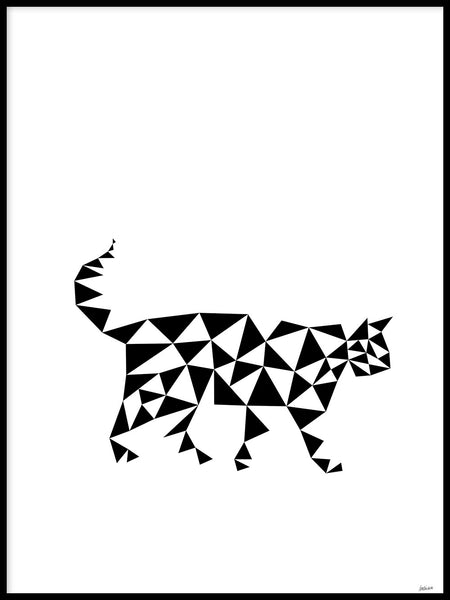 Poster: Cat, Triangles, by Caro-lines