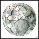 Poster: Cat snoring, watercolor, by Linda Forsberg
