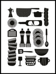 Poster: Kitchen utensils, white, by Forma Nova