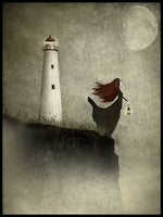 Poster: The woman at the lighthouse, by Majali Design & Illustration