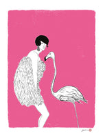 Poster: Lady and flamingo, by Jiashen Han