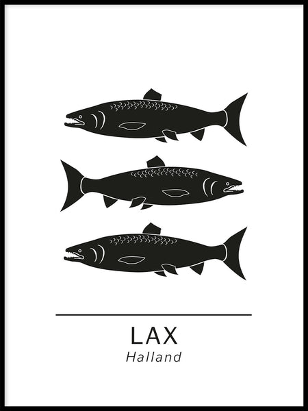 Poster: Salmon the official animals of Halland, Sweden., by Paperago