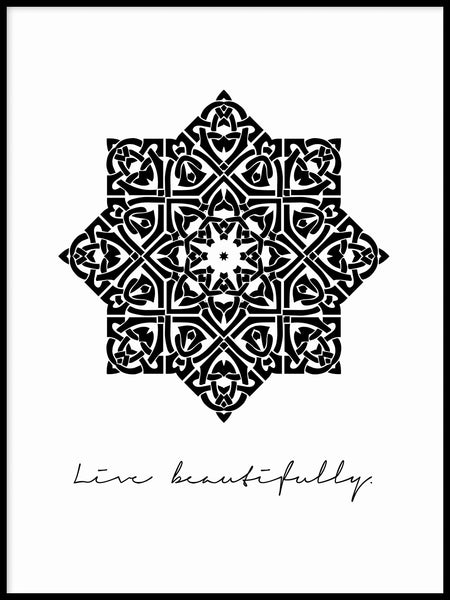 Poster: Live beautifully, black, by Anna Mendivil / Gypsysoul